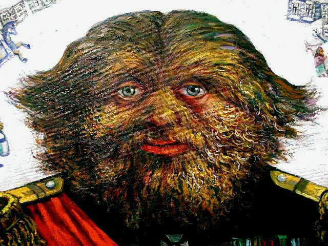 The above work represents a man named Adrian Jeftichew who was afflicted by  a condition of excessive hairiness called Hypertrichosis.