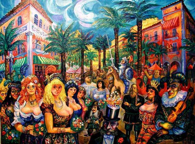 CARNIVAL ESPANOLA MIAMI BEACH FLORIDA Roussimoff Painting CELEBRATES - Painting miami